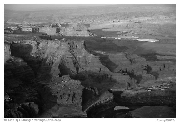 Aerial view of Dead Horse Point. Canyonlands National Park (black and white)