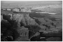 Aerial view of Dead Horse Point. Canyonlands National Park, Utah, USA. (black and white)