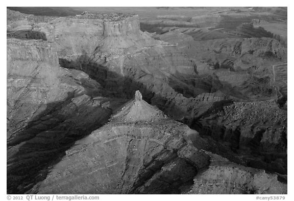 Aerial view of buttes and Dead Horse Point. Canyonlands National Park (black and white)