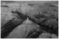 Aerial view of buttes and Dead Horse Point. Canyonlands National Park, Utah, USA. (black and white)
