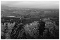 Aerial view of Dead Horse Point State Park. Canyonlands National Park, Utah, USA. (black and white)