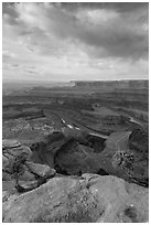 Colorado River from Dead Horse Point, morning. Canyonlands National Park, Utah, USA. (black and white)