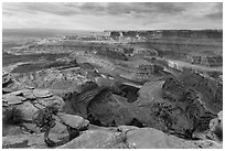 Gooseneck of the Colorado River from Dead Horse Point. Canyonlands National Park ( black and white)