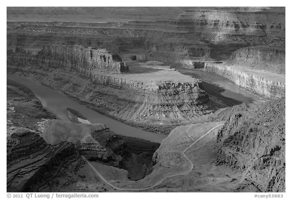 Colorado River gooseneck and Potash Road. Canyonlands National Park (black and white)