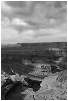 Gooseneck and stormy sky with virgas. Canyonlands National Park ( black and white)