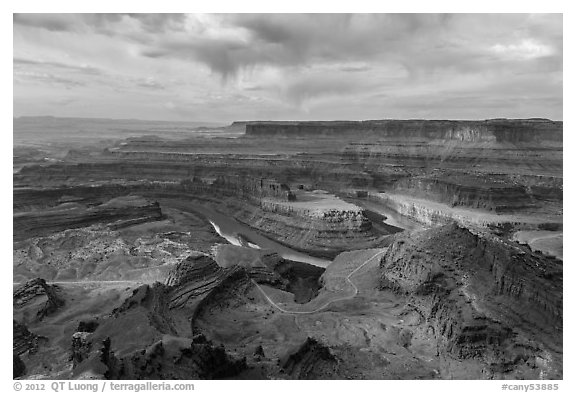 Dead Horse Point view with virgas. Canyonlands National Park (black and white)