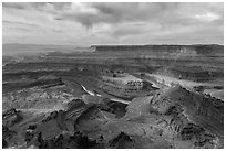 Dead Horse Point view with virgas. Canyonlands National Park, Utah, USA. (black and white)