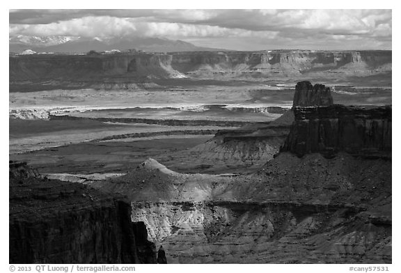 View over White Rim from High Spur. Canyonlands National Park (black and white)