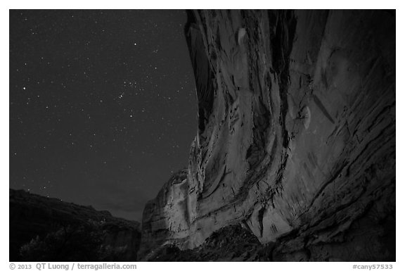 Great Gallery at night. Canyonlands National Park (black and white)
