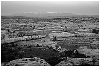 Maze canyons and snowy mountains at dusk. Canyonlands National Park ( black and white)