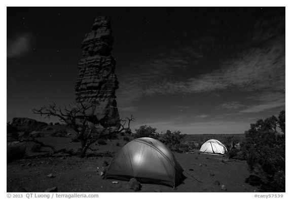 Tents at night below Standing Rock. Canyonlands National Park (black and white)