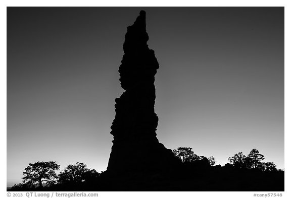 Standing Rock silhouette at sunrise. Canyonlands National Park (black and white)