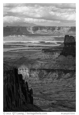 Island in the Sky seen from High Spur. Canyonlands National Park (black and white)