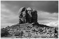 High Spur and storm clouds, Orange Cliffs Unit, Glen Canyon National Recreation Area, Utah. USA (black and white)