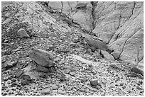 Rocks and clay badlands, Orange Cliffs Unit, Glen Canyon National Recreation Area, Utah. USA (black and white)