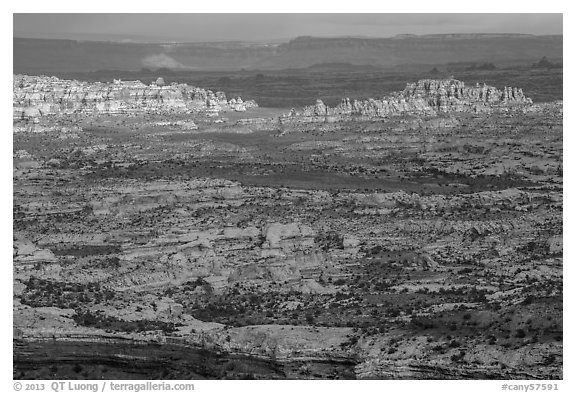 Maze District seen from Orange Cliffs. Canyonlands National Park (black and white)