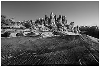 Rock slab and Dollhouse spires. Canyonlands National Park, Utah, USA. (black and white)