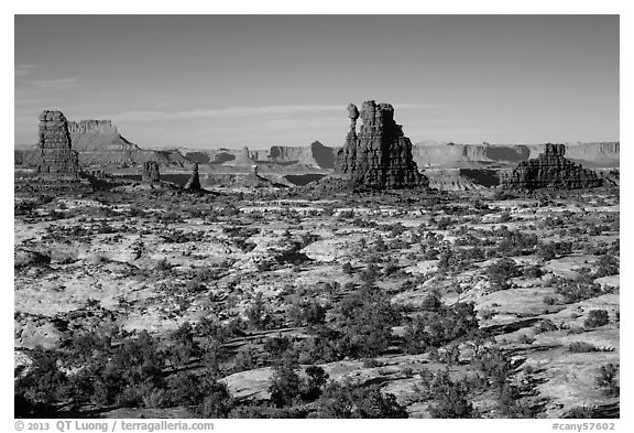 Land of Standing rocks, Maze District. Canyonlands National Park (black and white)