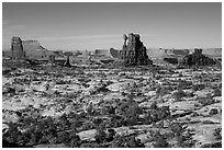 Land of Standing rocks, Maze District. Canyonlands National Park, Utah, USA. (black and white)