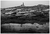 Maze and Chimney Rock at sunset, land of Standing rocks. Canyonlands National Park, Utah, USA. (black and white)