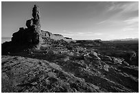 Petes Mesa at sunrise, Maze District. Canyonlands National Park, Utah, USA. (black and white)