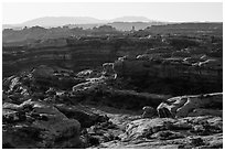 Jasper Cayon, early morning, Maze District. Canyonlands National Park, Utah, USA. (black and white)