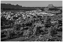 Maze seen from Chimney Rock, late afternoon. Canyonlands National Park, Utah, USA. (black and white)
