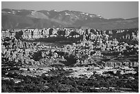 Needles seen from the Maze, late afternoon. Canyonlands National Park ( black and white)