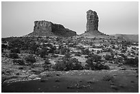 Lizard and Plug rock formations at dawn. Canyonlands National Park, Utah, USA. (black and white)