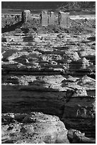 Maze canyons and Chocolate Drops. Canyonlands National Park, Utah, USA. (black and white)
