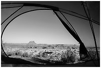View from inside tent at Standing Rock camp. Canyonlands National Park, Utah, USA. (black and white)