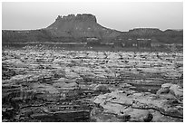 Chocolate drops, Maze canyons, and Elaterite Butte at dawn. Canyonlands National Park, Utah, USA. (black and white)