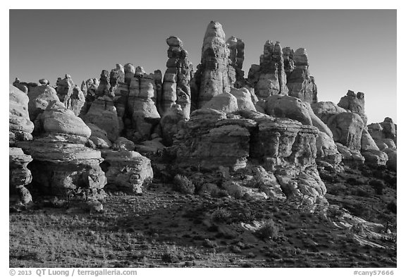 Dollhouse spires at sunrise, Maze District. Canyonlands National Park (black and white)