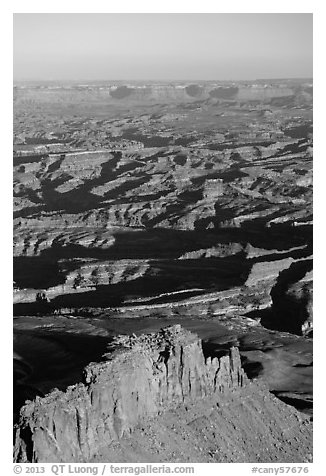Aerial View of Under the Ledge country. Canyonlands National Park (black and white)