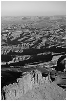 Aerial View of Under the Ledge country. Canyonlands National Park, Utah, USA. (black and white)