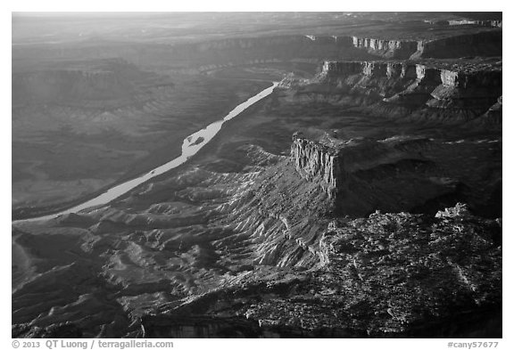 Aerial View of Cliffs and Green River. Canyonlands National Park (black and white)