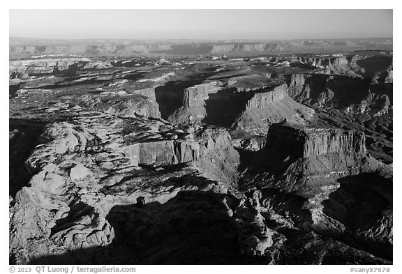 Aerial View of mesas, Island in the Sky district. Canyonlands National Park (black and white)