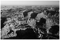 Aerial View of mesas, Island in the Sky district. Canyonlands National Park, Utah, USA. (black and white)