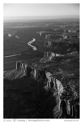 Aerial View of cliffs bordering Green River. Canyonlands National Park (black and white)