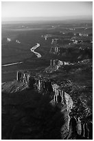 Aerial View of cliffs bordering Green River. Canyonlands National Park, Utah, USA. (black and white)