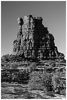 Eternal Flame, late afternoon. Canyonlands National Park, Utah, USA. (black and white)