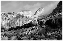 Capitol dome and Waterpocket Fold. Capitol Reef National Park ( black and white)