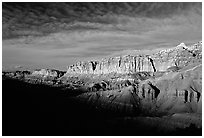 Layers of rock on  West face of Waterpocket Fold at sunset. Capitol Reef National Park, Utah, USA. (black and white)