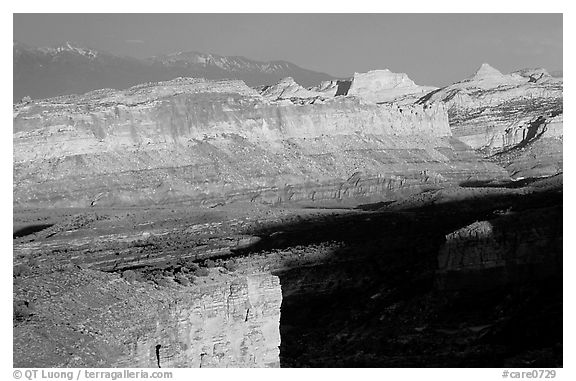 Waterpocket Fold from Sunset Point in storm light at sunset. Capitol Reef National Park (black and white)