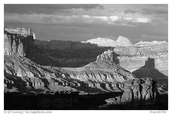 Capitol Reef section of the Waterpocket Fold from Sunset Point, sunset. Capitol Reef National Park (black and white)