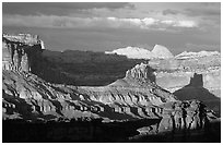 Capitol Reef section of the Waterpocket Fold from Sunset Point, sunset. Capitol Reef National Park ( black and white)