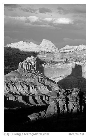 Cliffs and domes in the Waterpocket Fold, clearing storm, sunset. Capitol Reef National Park (black and white)