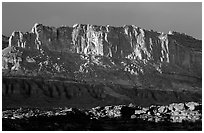 Cliffs from Sunset Point, sunset. Capitol Reef National Park, Utah, USA. (black and white)