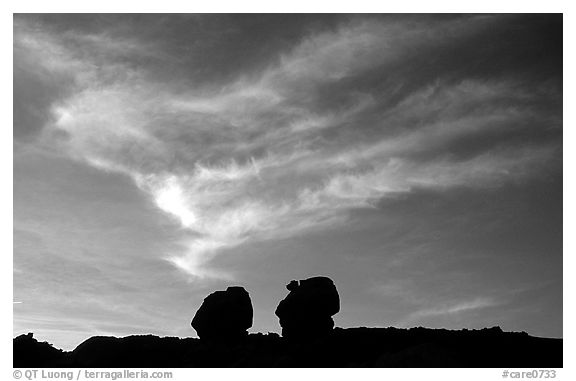 Twin boulders and clouds, dusk. Capitol Reef National Park (black and white)
