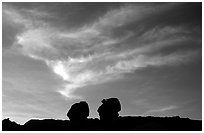 Twin boulders and clouds, dusk. Capitol Reef National Park ( black and white)